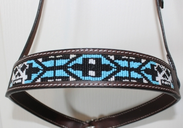 Beaded Leather One Ear Headstalls, Futurity Headstalls and Nosebands / Tiedowns