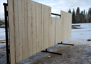 Calf sheds and wind fence